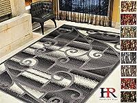 Handcraft rugs-modern現代リビングルームrugs-abstractカーペットwith Geometric渦巻きパターン/ベージュ/アイボリー/チョコレート 8 by 10 feet グレー