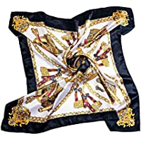 BEEYA Womens Fashion Vintage Pattern Large Silk Scarf for Hair Square Luxury Chain Print Neckerchief Headscarf 35x35 Inches