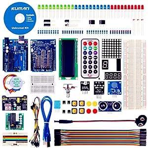 Kuman Arduinoをはじめよう R3ボード スターターキット日本語マニュアル 初心者 LEDセット ブレッドボード 電子工作 アルディーノ Mega 2560 Nano K4