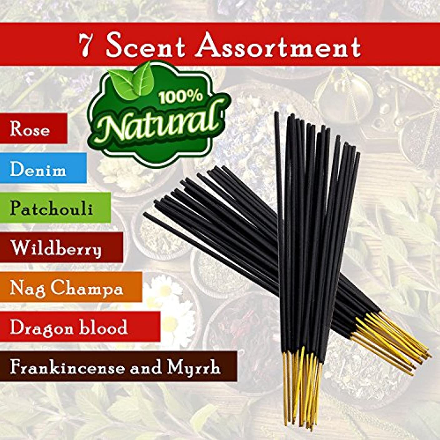 7-assorted-scents-Frankincense-and-Myrrh-Patchouli-Denim-Rose Dragon-blood-Nag-champa-Wildberry 100%-Natural-Incense-Sticks...
