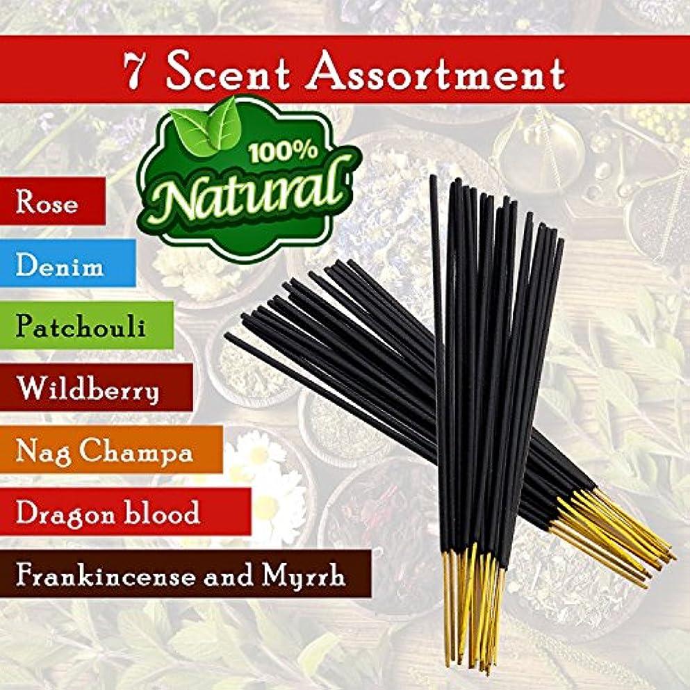 フランクワースリー支配的保証金7-assorted-scents-Frankincense-and-Myrrh-Patchouli-Denim-Rose Dragon-blood-Nag-champa-Wildberry 100%-Natural-Incense-Sticks...