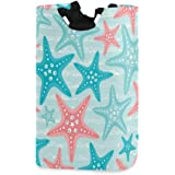 senya Nautical Ocean Starfish Large Storage Basket Collapsible Organizer Bin Laundry Hamper for Nursery Clothes Toys