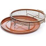 Gotham Steel Round Copper Air Fry Crisper Tray, Pizza & Baking Pan, 2 Piece Set!