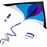 Best Delta Kite, Easy Fly for Kids and Beginners, Single Line w/Tail Ribbons, Stunning Colors, Large, Meticulously Designed a