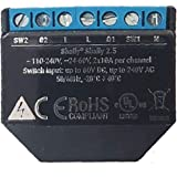 Shelly 2.5PM Wi-Fi Relay Switch for Controlling Two Electrical Circuits with 2.3kW Max Power Compatible with Amazon Echo and
