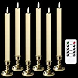 Wondise Flameless Window Taper Candles Flickering with 6 Hour Timer, 6 Pack Battery Operated 3D Black Wick Real Wax LED Fake
