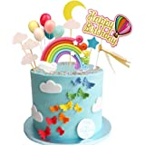 Rainbow Birthday Cake Topper Party Supplies with Rainbow Clouds Balloons Happy Birthday Cake Decorations for Rainbow Theme Pa