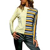 Qootent Women Striped Patchwork T-Shirt Pullover Long Sleeve Casual Cotton Tops
