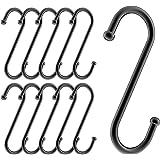 [Amazonブランド] Umi(ウミ)S字フック ステンレス 10個セット コンパクト 汎用フック キッチン 浴室 トイレ (10cm, ブラック)