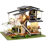 Fsolis DIY Dollhouse Miniature Kit with Furniture, Garden Cafe 3D Wooden Miniature House with Dust Cover, Miniature Dolls Hou