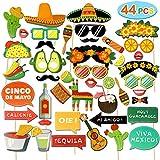 44ピース フィエスタ メキシカン写真ブース小道具 楽しいメキシカンテーマのパーティー用品 誕生日 タコ 結婚式 独身お別れパーティー パーティーデコレーション