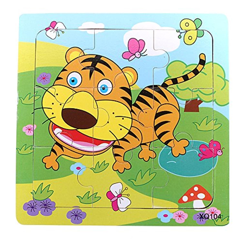 cynken 9ピースDIY木製Tiger Puzzle Jigsawベビーキッズトレーニングおもちゃ