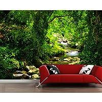 Ljjlm 森林ストリーム石自然な3D壁紙リビングルームテレビソファ壁キッズルームの壁紙家の装飾レストランカフェバー壁画-120X100CM