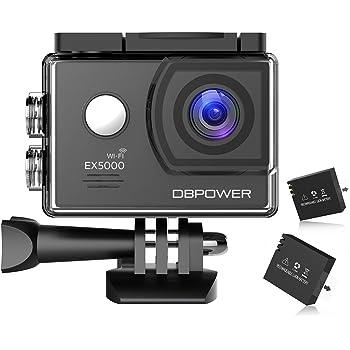 DBPOWER アクションカメラ 2インチ WIFI機能搭載 1400万画素 1080P フルHD 170度広角 バイク/自転車/車などに取り付け可能 19個のアクセサリー付け ブラック