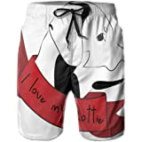 K0k2t0 Men Swim Trunks Beach Shorts,I Love My Rottie Quote with A Doodle Dog Lovers Items