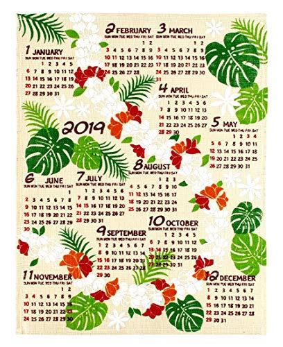 ハワイアン雑貨 2019年 カレンダー 壁掛け 麻 ジュート...