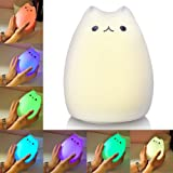 Litake Cat Night Light USB Rechargeable Night Lights for Kids Cute Multicolor Silicone Soft Kitty Nursery Lamp with Warm Whit