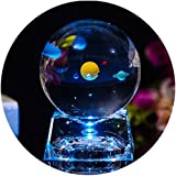(Solar System Ball) - Solar System Balls - Crystal Ball for Kids with LED Lamp Base, Clear 80mm(3 inch) Glass Sphere for Kids