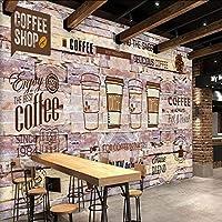 Lixiaoer 3Dレンガの壁紙ヨーロッパ系アメリカ人の石の壁の壁紙コーヒーショップレストランの壁紙の壁の壁画3D-280X200Cm