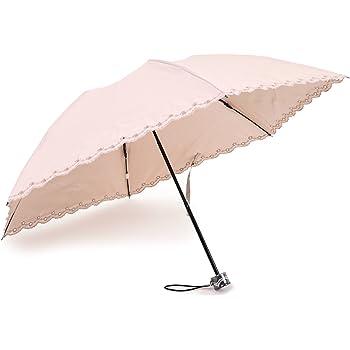 軽量200g 晴雨兼用 日傘 UVカット 紫外線遮蔽率99% カラーコーティング 刺繍加工 50cm ミニ傘(ピンク)