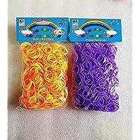 [Artasy ™][並行輸入品] DIY 2段カラーゴムセット バンドブレスレット (オレンジ x イエロー + パープル) Loom Bands refill Pack - (600 + 600 pcs) rubber ring Color: Orange X yellow + Purple