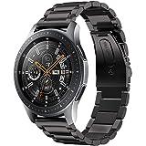 VICARA バンド Compatible with Galaxy Watch 46mm バンド 22mm替えベルト ステンレス 調整工具付き 錆びにくい スチール オシャレ 金属製 高級腕時計 ビジネス (ブラック)