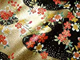 京・金彩友禅 花に流水(黒) (着物生地 和 和柄生地 和柄 和風 はぎれ 手芸 布 インテリア)