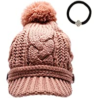 MIRMARU Women's Thick Cable Knitted Beanie Visor Cap Button Pom Pom with Scrunchy