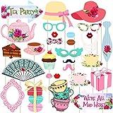 pretyzoom Teaパーティー写真ブース小道具Girlsテーマパーティーの装飾面白い写真ブース小道具キットパーティーReunions、30個