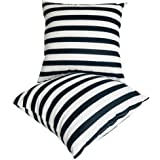 U-LOVE 2Pack Black&White Striped Pillow Covers Morden Simple Life Throw Pillowcases Home Decorative Cushion Covers 18×18 inch