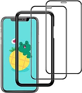 【ガイド枠付き】【2枚セット】Aenkyo iPhone 11 / iPhone XR 用 全面保護フィルム ガラスフィルム 日本製素材旭硝子製(6.1インチ)