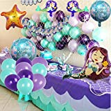Mermaid Party Supplies Set Decoration,Mermaid Bunting Banner,Fish net,Latex Balloons,Mermaid Balloons for Girl's Party Under The Sea Theme Bridal and Baby Shower Mermaid Party Décor