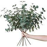Miracliy 6 PCS Artificial Eucalyptus Leaves Greenery Stems Faux Silk Silver Dollar Eucalyptus Leaf Branches Green Bulk for Ho
