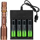 Tokeyla Full Metal 5 Modes Tactical Flashlight with 4-Pack 18650 Rechargeable Batteries and USB Charger Super Bright high Lum