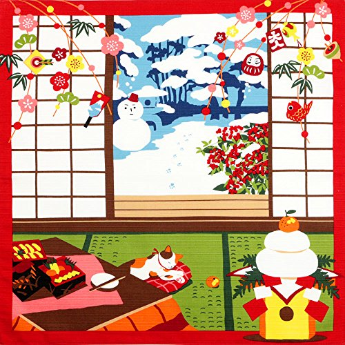 《DM便対応》 (キステ)Kisste 三毛猫みけのゆめ日記 小ふろしき 5-4-02167 1月・みけの初夢