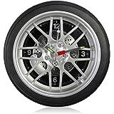 【Amazon限定ブランド】FIDAC タイヤ型クロック 掛け時計タイプ LED付き ラージサイズ 14インチ WCL608HL-BK