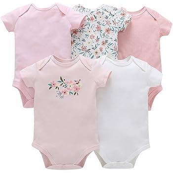 119419f8f79fd ARAUS 新生児 ロンパース 5点セット ワンピース ベビー服装 半袖 三角 ピンクの花 白い鳥