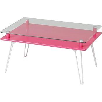 不二貿易 ディスプレイテーブル クラリス 強化ガラス 折りたたみ ピンク 84484
