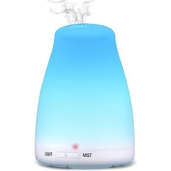 アロマディフューザー 超音波式加湿器 卓上加湿器 160mlアロマライト 静音 7色変換LED付き 6-10畳対応 空焚き防止機能搭載 コンパクト 二つのミストモード 30ml/h 騒音30Db以下 部屋/オフィス/会議 18ヶ月間メーカー保証 ホワイト