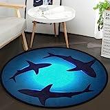 Vdsrup Cute Ocean Animal Sharks Round Doormat Shark Blue Ocean Water Non Slip Absorbent Round Rug Floor Carpet Yoga Mat for E