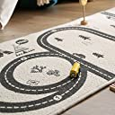 LOWYA (ロウヤ) プレイマット キッズラグ ラグ コットン100% 滑りとめ加工 コンパクト 60×170 ホワイト/グレー 絨毯 子供部屋 新生活