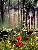 leowefowa 5x 7ft写真バックドロップビニールDreamy Fairy Tale Fantasy Landscape Bokehフォレストバイオリン花Vine背景Sweetキッズ子供プリンセスフォトスタジオ小道具