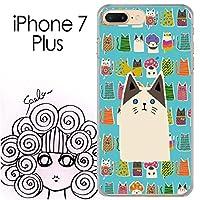 iPhone7 Plus スカラー ScoLar おもしろ猫柄 アニマル 猫 ブルー ハードケース クリア_358