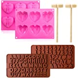 Heart Silicone Mould,Premium Hearts Sweet Moulds with wooden hammers for Baking,Making Valentine's Women's Mother's Day DIY G