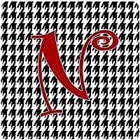 Carolines Treasures CJ1035-NFC Set of 4 Monogram - Houndstooth Black Foam Coasters Initial Letter N