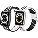 コンパチブル Apple Watch バンド, スポーツベルトシリコン 多空気穴通気性 防汗アップルウォッチバンドコンパチブル iWatch SE ,Series7/6/5/4/3/2/1に対応 (42mm 44mmM/L, 黒/白+白/黒)