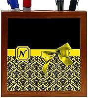 Rikki Knight Letter N Yellow Monogram Damask Bow Design 5-Inch Tile Wooden Tile Pen Holder (RK-PH41925) [並行輸入品]