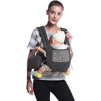 抱っこ紐 Mobesy ベビーキャリア 抱っこひも おんぶ 横抱き 新生児から3歳まで 4WAYタイプ 着脱式 腰ベルト ウエストバッグ 付き JA8908 (グレー)