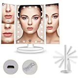 Makeup Mirror with Light Touch Screen Dimmable Lights up Vanity Cosmetic Trifold (WHITE)