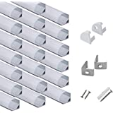 hunhun 20-Pack 3.3ft/1Meter V Shape LED Aluminum Channel System with Milky Cover, End Caps and Mounting Clips, Aluminum Profi